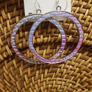 Hologram Circle Drop Earrings